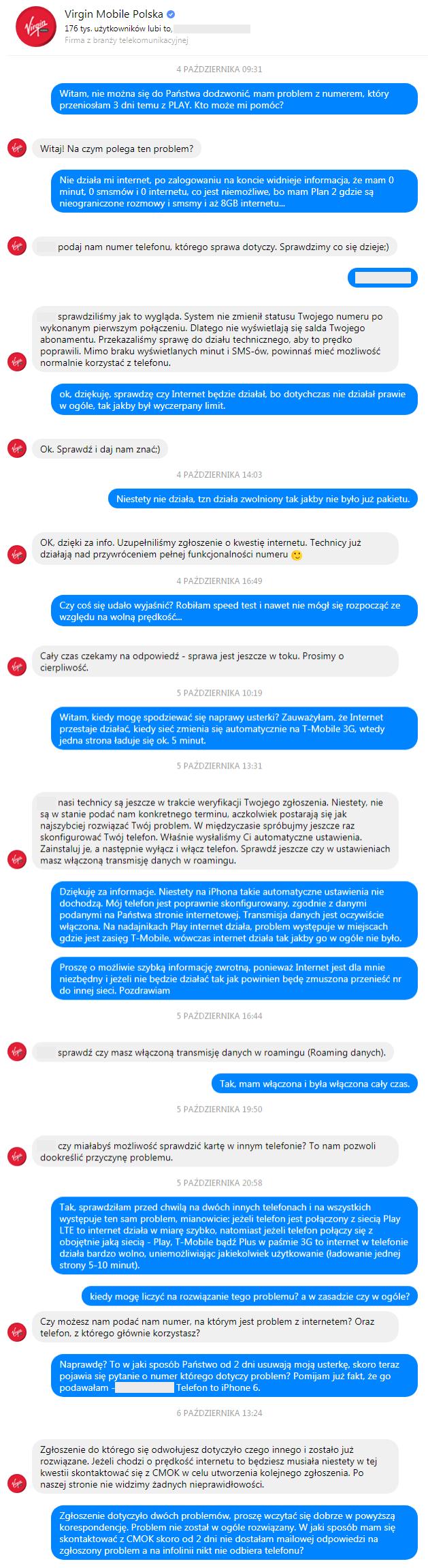 Virgin Mobile - rozmowa na messengerze o niedziałającym internecie